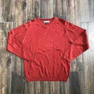 tommy bahama mens orange v-neck silk sweater Med